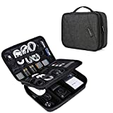 BAGSMART Electronic Organizer Double Layer Travel Cable Organizer Cases Electronics Accessories Storage Bag for 10.5 inch iPad Pro, iPad air, Charger, Kindle, Black