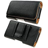 Kingsource Quality Black Leather Pouch Holster Case with Metal Belt Clip for iPhone 5 iPhone 5S iPhone 5C iPhone SE Color Black