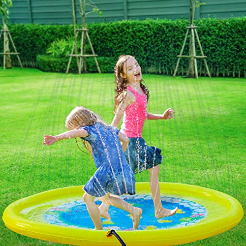 Splashin'kids 68' Sprinkle and Splash Play Mat Pad Toy for Children Infants Toddlers,Boys, Girls and Kids - Perfect Inflatable Outdoor Sprinkler pad [Watch Video]