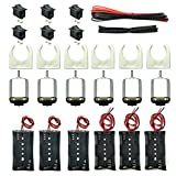 EUDAX 6 Set Small DC motor Mini Electric Hobby Motors 1.5V-3V 24000RPM with 2x1.5V AA Battery Holder Case,Motor Bracket,Rocker Switch and 12Pcs 25cm Electronic wire for DIY toys