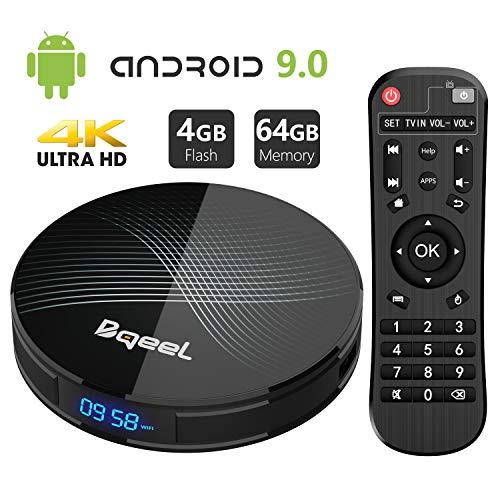 Android 9.0 TV Box 4GB RAM 64GB ROM, Bqeel U1 Pro Android Box RK3328 Quad-Core 64bits Dual-WiFi 2.4G/5.0G,3D Ultra HD 4K H.265 USB 3.0 BT 4.0 Smart TV Box[2019 Version]