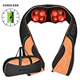 Cordless Neck Shoulder Back Massager with Heat - Shiatsu Massage Pillow with 3D Deep Tissue Kneading for Neck Shoulder Back and Full Body Muscle Pain Relief - Use at Home, Office & Car