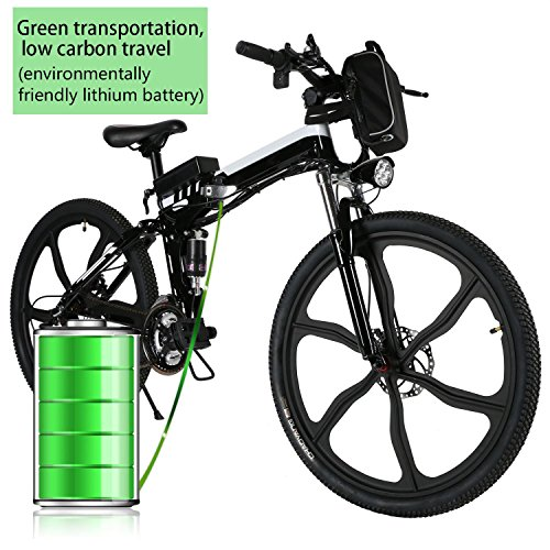 Pesters Electric Foldable Mountain Bike With Large Capacity Lithium-Ion Battery (36V 250W),26inch 21 Speed Lightweight Mountain Bicycle,Full Suspension and Shimano Gear(US STOCK) (Black)