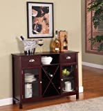 Product review for King's Brand WR1241 Wood Wine Rack Console Sideboard Table with Drawers and Storage, Cherry Finish
