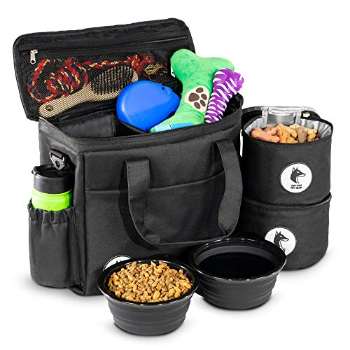Top Dog Travel Bag - Airline Approved Travel Set for Dogs Stores All Your Dog Accessories - Includes Travel Bag, 2X Food Storage Containers and 2X Collapsible Dog Bowls - Black 1