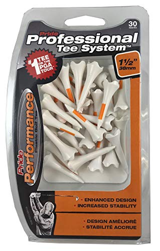 Pride Performance Professional Tee System Plastic Golf Tees (Pack of 30), 1 1/2-Inch