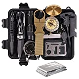 Survival Gear Kits 13 in 1- Outdoor Emergency SOS Survive Tool for Wilderness/Trip/Cars/Hiking/Camping gear - Wire Saw, Emergency Blanket, Flashlight, Tactical Pen, Water Bottle Clip ect,