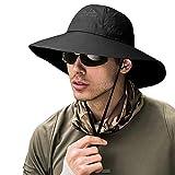 ZOORON Fishing Bucket Hat for Men,Waterproof Wide Brim Boonie Sun Hat UV Protection