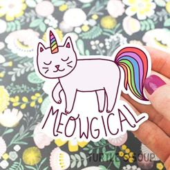 Magical-Vinyl-Sticker-Meowgical-Cat-Unicorn-Decal-Rainbow-Laptop-Sticker-Tablet-Decal-Yeti-Sticker-Cute-Gift-For-Her-Binder-Stickers