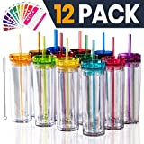 SKINNY TUMBLERS 12 Colored Acrylic Tumblers with Lids and Straws   Skinny, 16oz Double Wall Clear Plastic Tumblers With FREE Straw Cleaner & Name Tags! Reusable Cup With Straw (Multicolors, 12)