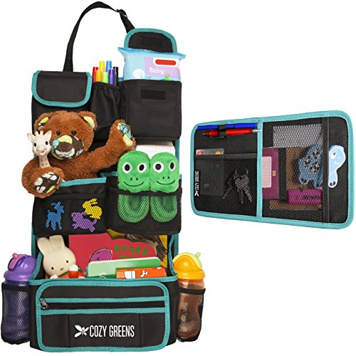 Car Organizer for Back Seat | Eco-Friendly & Strong | Kick Mat Protects Backseat | FREE Visor Organizer | Storage for Toys, Travel Accessories, Tablet | Baby Shower Gift Box (Green and Black)