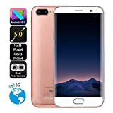 (New) Cell Phones, 5.0 inch Dual SIM HD Camera Android 6.0 1G+4G GPS 3G Call Mobile Phone by LAIHUI (Rose Gold)