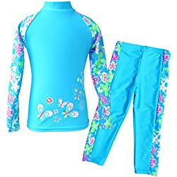 TFJH E Girls Swimsuit UPF 50+ UV Two-Piece Rash Guard Suits Blue Long 5-6 Years 6A