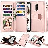 LG Stylo 4 Case, LG Stylo 4 Wallet Case, LG Q Stylus/Stylus 4/Stylo 4 Plus Case, Njjex [9 Card Slots] PU Leather ID Credit Flip [Detachable][Kickstand] Magnetic Phone Cover & Wrist Strap [Rose Gold]
