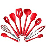 10Pcs/set Silicone Heat Resistant Kitchen Cooking Utensils Non-Stick Baking Tool tongs ladle gadget by BonBon (Red)