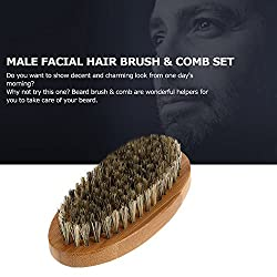 Beard Brush for Men Long Beard Grooming and Shaping, Boar Bristle Beard Comb Natural Bamboo Facial Pocket Brush for Mustache Styles Short, Great with Beard Oil, Balm, Beard Shampoo and Conditioner  Image 3