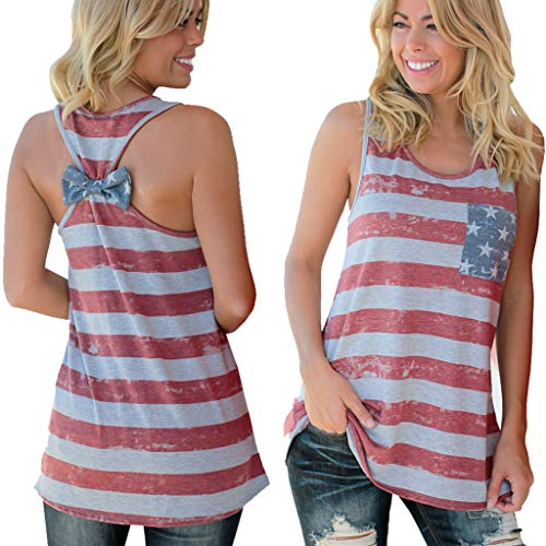 Barlver Women's American Flag Camo Tank Tops Sleeveless Stripes Patriotic T Shirts 4th of July
