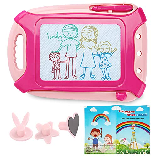 Jaolex Magnetic Drawing Board Toy for kids, Travel Size Toddlers Toy Doodle Board Erasable Colorful Writing Painting Sketch Pad (Pink) with 24 Simple Paintings Album