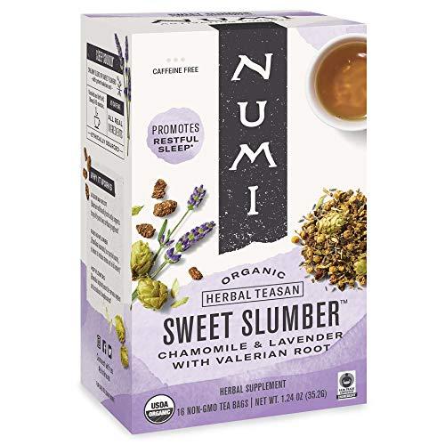 Numi Organic Tea Sweet Slumber with Chamomile, Valerian Root & Lavender, 16 Count Box of Tea Bags (Pack of 3) Herbal…