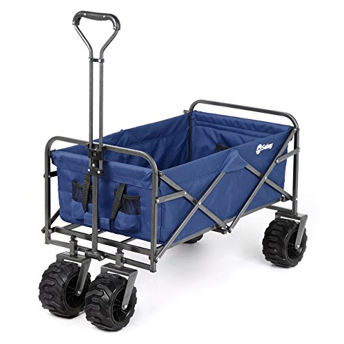 Sekey Folding Wagon Cart Collapsible Outdoor Utility Wagon Heavy Duty Beach Wagon with All-Terrain Wheels, 265 Pound Capacity, Blue