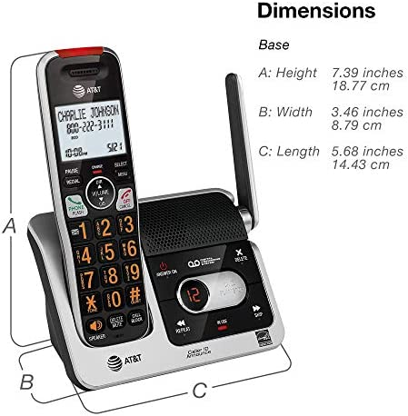 AT&T BL102-2 DECT 6.0 2-Handset Cordless Phone for Home with Answering Machine, Call Blocking, Caller ID Announcer, Audio Assist, Intercom, and Unsurpassed Range, Silver/Black 23