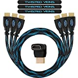 Twisted Veins HDMI Cable 3 ft, 3-Pack, Premium HDMI Cord Type High Speed with Ethernet, Supports HDMI 2.0b 4K 60hz HDR on Most Devices and May Only Support 4K 30hz on Some Device