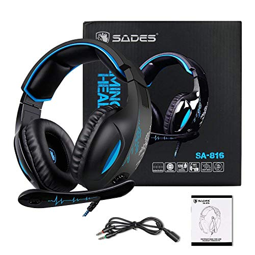 511Rcvgk4AL - SADES SA816 Stereo Gaming Headset for Xbox One, PC, PS4 Over-Ear Headphones with Noise Canceling Mic, Soft Ear Cushion, 3.5mm Jack Plug Cable for Mac Laptop Tablet Smartphone