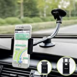 Car Phone Mount, Newward 2 Clamps Long Arm Universal Windshield Dashboard Cell Phone Holder for iPhone X 8 7 Plus 6 6s Plus 5s, Samsung Galaxy S9 S8 S7 S6 S5 Note,Google,LG and other Smartphones