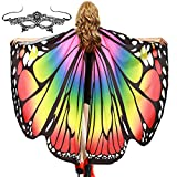 Halloween Soft Fabric Butterfly Wings Shawl with Mask for Women Fairy Ladies Cape Cloak Nymph Pixie Costume Accessory (Rainbow)