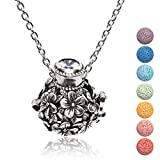 "Kayder Essential Oil Diffuser Flower Ball Filigree Locket Aromatherapy Pendant Necklace with 7 Color Chakra Lava Rock Bead Inserts, Antique Silver Yoga Necklace for Women Girls, 20"" to 22"" Adjustable"