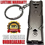 FUTURESTEPS Emergency Whistle | EDC Whistle | Very Loud Survival Whistle | Low Air Flow Needed | 105 Decibels with Less Effort | One Piece | Charcoal Gray Titanium