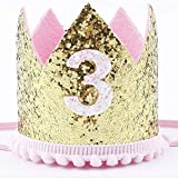 Finduat Baby Girl Third 3 Birthday Crown Hat, Baby Girl Crown Tiara Headbands Party Hat for Baby Girl 3rd Birthday Party Supplies