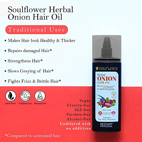 Soulflower Onion Herbal Hair Growth Oil Blend of 20 Essential Oils and Natural Extracts with Ratanjot Herb for Grey Hair, Red, 220 ml 24