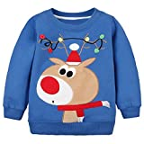 LOSORN ZPY Baby Toddler Boy Christmas Sweater Cotton Pullover Sweatshirt bluedeer 4T