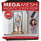 Magnetic Screen Door - Heavy Duty Reinforced Mesh & Full Frame Hook & Loop ACTUAL SCREEN SIZE 36'x83' Fits Doors Up to 32'x82' MegaMesh Comes With a 12 Month Warranty