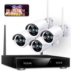Wireless-Security-Camera-System-Victure-1080P-8-Channel-NVR-4PCS-Outdoor-WiFi-Surveillance-Camera-with-IP66-Waterproof-Night-Vision-Motion-Alert-Remote-Access-No-Hard-Disk