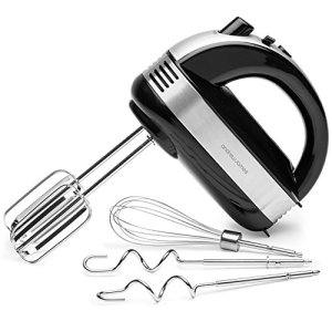 Andrew James Hand Mixer | Handheld Food & Cake Mixer with Extra Long Beaters Dough Hooks & Balloon Whisk | 5 Speed with Turbo Function | Dishwasher Safe Accessories | 300W 1.5m Cable | Black 511aQ5YDoLL