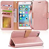 Arae Wallet case for iPhone 6s Plus/iPhone 6 Plus [Kickstand Feature] PU Leather with ID&Credit Card Pockets for iPhone 6 Plus / 6S Plus 5.5' (not for 6/6s) (Rosegold)