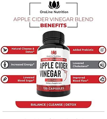 Organic Apple Cider Vinegar Capsules (120 Capsules | 1500 mg) with Prebiotics | Apple Cider Vinegar Pills | Fiber Supplement for Immune Support & Gut Health 9