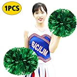 XIANRUI Cheerleading Pompoms, Cheerleader Pom Poms Metallic Foil Pom Poms Squad Cheer Sports Party Dance for Team Spirit Dance Party School Sports Competition Stage Performance (Green)