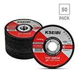 "KSEIBI 50 Pack 646004 Angle Grinder Cut Off Wheels for Cutting Metal Stainless Steel 4-1/2""x0.040""x7/8"" Type 41 Ultra Thin Disc"