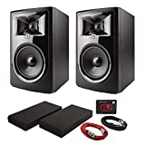 JBL 306PMKII Powered 6' Two-Way Studio Monitors (Pair) with Nano Patch Controller, Isolation Pads and Cables