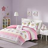 Comfort Spaces Kid 3 Piece XL/Twin Comforter Cute Owl Animal Flowers Poka Dot Striped Design Decor Boys Girls All Season Down Alternative Bedspread Set, Pink