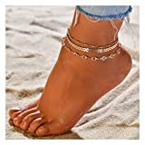 Zoestar Three-Layer Anklet Ankle Bracelet Foot Chain with Leaves Accessories Foot Jewelry for Women and Girls(Gold)