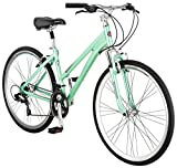 Schwinn Siro Comfort Hybrid Bicycle, Lightweight Aluminum Step-Through Frame, Front Suspension Fork, Padded Suspension Seat, 21-Speed Shimano Drivetrain, and 700c Wheels, Light Green