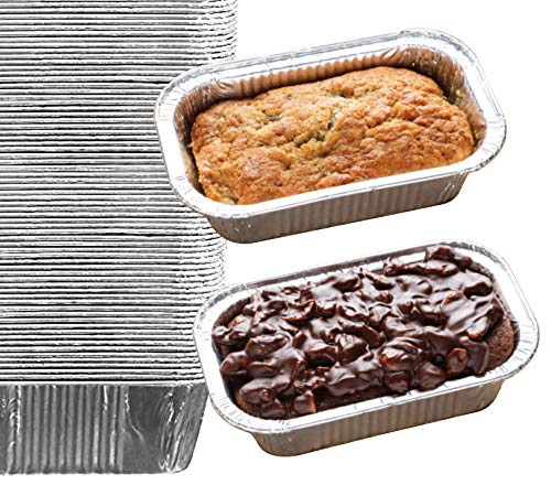 "35 Pack – 1LB Sturdy Mini Loaf Pans, Aluminum Loaf Pans, Bread Pans, Foil Loaf Pan l Cake Pan, Disposable Aluminum Pans l Top bakery's choice Tin Pans - 1 Pound - 6'' X 3.5"" x 2"""