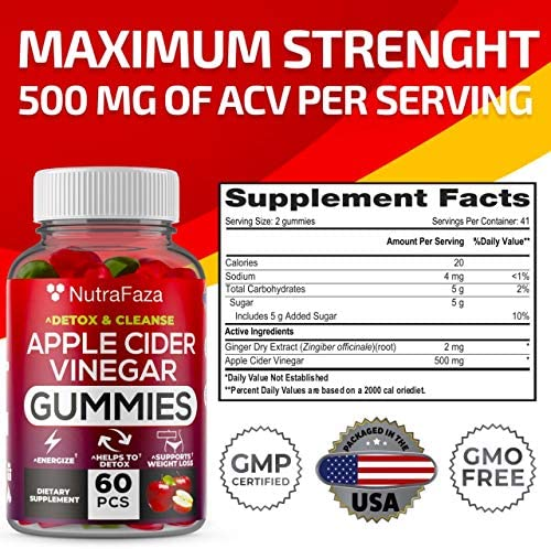 (2 Pack) Apple Cider Vinegar Gummies with Mother for Immunе Support - Vegan - Detox, Cleanse Support - Bloating Relief - Gummy Alternative to Apple Cider Vinegar Capsules, Pіlls, Made in USA 6