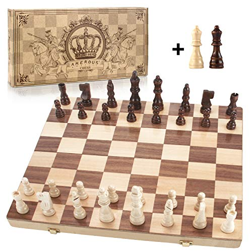 Amerous 15' x 15' Magnetic Wooden Chess Set, Folding Travel Chess Board with 2 Extra Queens / Pieces Storage Slots / Carry Bag , Handmade Large Wooden Board Game for Kids and Adults