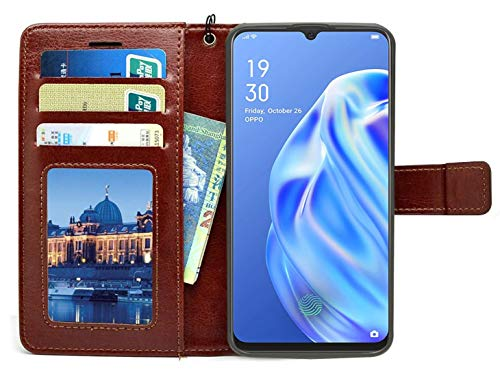 Jkobi Vintage Flip Case Cover for Oppo F15 | Premium Leather | Inner TPU | Foldable Stand | Wallet Card Slots -Brown 4