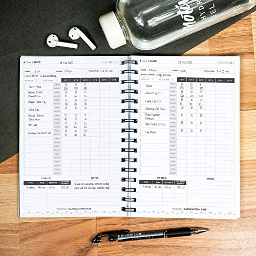 Clever Fox Fitness & Workout Journal/Planner Daily Exercise Log Book to Track Your Lifts, Cardio, Body Weight Tracker - Spiral-Bound, Laminated Cover, Thick Pages, A5 6